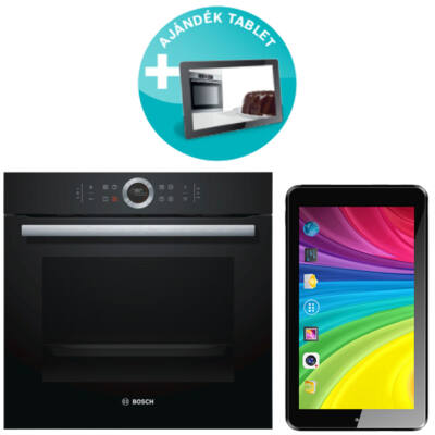 Bosch HBG6750B1 Serie 8 beépíthető pirolitikus sütő + Ajándék Tablet