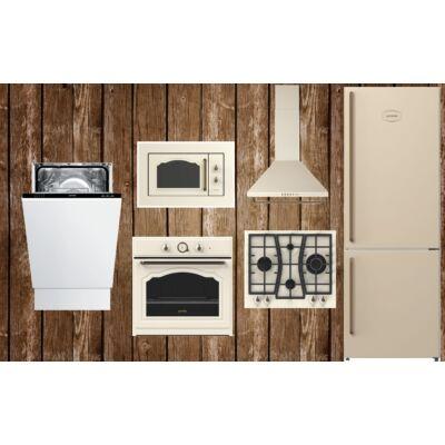 Gorenje rusztikus konyha-Bézs beépíthető mikróval, hűtővel, mosogatógéppel (45 cm)