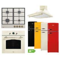 Amica Retro bézs szett beépíthető sütővel gázfőzőlappal, páraelszívóval választható kombinált hűtőszekrénnyel
