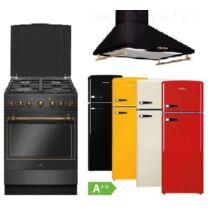 Amica Retro antracit szett kombinált tűzhellyel páraleszívóval választható kombinált hűtőszekrénnyel