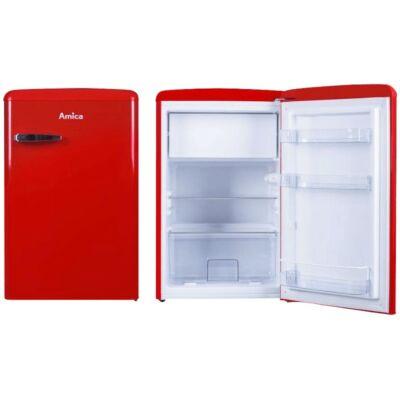 Amica KS 15610 R Egyajtós retro hűtőszekrény fagyasztóval piros színben 93/13L A++