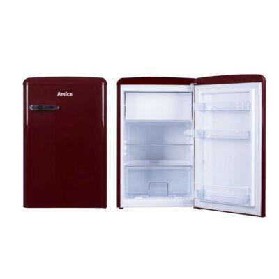 Amica KS 15611 R Egyajtós retro hűtőszekrény fagyasztóval bordó színben 93/13L A++