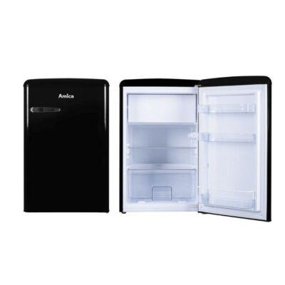 Amica KS 15614 S Egyajtós retro hűtőszekrény fagyasztóval fekete színben 93/13L A++
