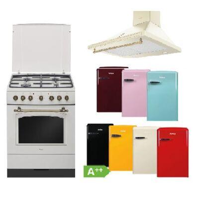 Amica Retro bézs szett kombinált tűzhellyel páraleszívóval választható egyajtós hűtőszekrénnyel