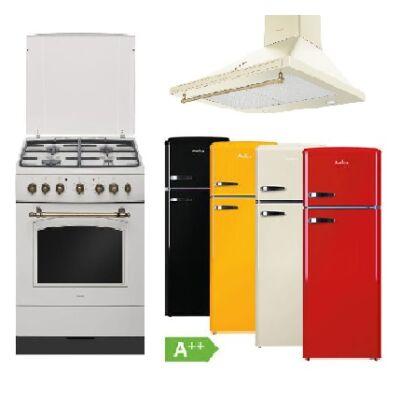 Amica Retro bézs szett kombinált keskeny tűzhellyel páraelszívóval választható kombinált hűtőszekrénnyel