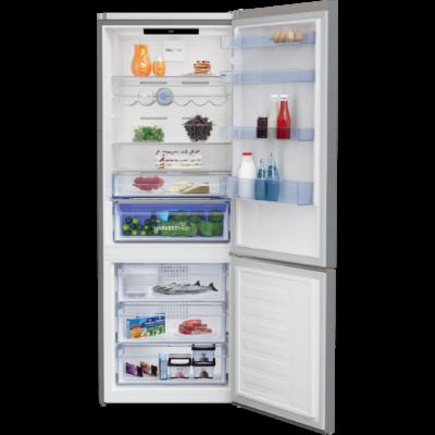 BEKO RCNE-560E40 ZXBN Inox alulfagyasztós antibakteriális hűtő NO FROST 356/158L