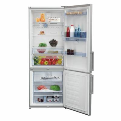 BEKO RCNE-520 K21DS Inox alulfagyasztós hűtő vízadagolóval NO FROST 301/125L A+