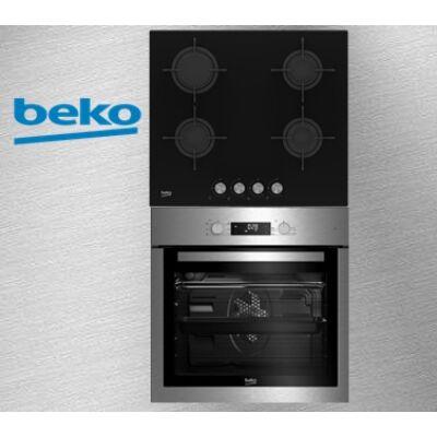 Beko BIE-26300X+HILG-64220S Beépíthető elektromos sütő-üveg gázfőzőlap szett