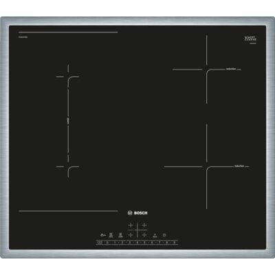 Bosch PVS645FB5E Fekete indukciós üvegkerámia főzőlap inox kerettel CombiZone 60cm