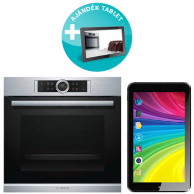 Bosch HBG633NS1 Serie 8 beépíthető elektromos sütő + Ajándék Tablet