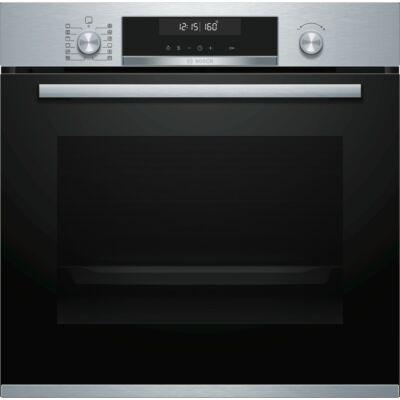 Bosch HBG5780S0 Fekete/inox pioritikus beépíthető sütő 3D légbefúvás  LCD kijelző 71L A