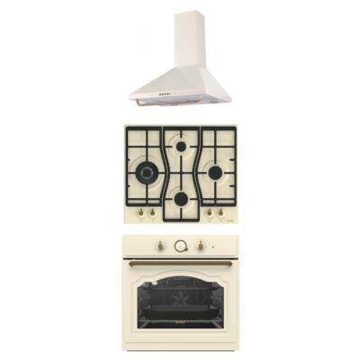 GORENJE BO7732CLI - GW6D41CLI - DK63CLI Rusztikus bézs - beige beépíthető sütő - gáz főzőlap - páraelszívó szett