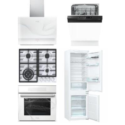 Gorenje Karim Raschid fehér szett gáz főzőlappal, sütővel, páraelszívóval 60cm mosogatóval és beépíthető hűtővel