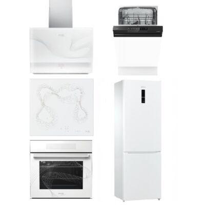 Gorenje Karim Raschid fehér szett indukciós főzőlappal, sütővel, páraelszívóval 45cm mosogatóval és beépíthető hűtővel