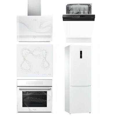 Gorenje Karim Raschid fehér szett indukciós főzőlappal, sütővel, páraelszívóval 60cm mosogatóval és hűtővel