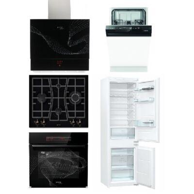 Gorenje Karim Raschid szett gázfőzőlappal, sütővel, páraelszívóval 45cm mosogatóval és beépíthető hűtővel