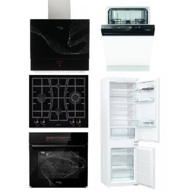 Gorenje Karim Raschid szett gázfőzőlappal, sütővel, páraelszívóval 60cm mosogatóval és beépíthető hűtővel