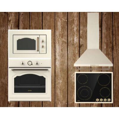 Gorenje rusztikus konyha,beépíthető mikróval, elektromos főzőlappal Bézs színben