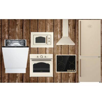 Gorenje rusztikus konyha-Bézs beépíthető mikróval, üvegkerámia főzőlappal, hűtővel, mosogatógéppel (60 CM)