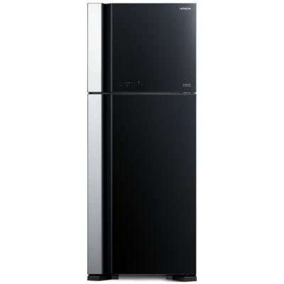 HITACHI VG540PRU7.GBK  felül fagyasztós fekete üveg hűtőszekrény NoFrost 333/117L A++