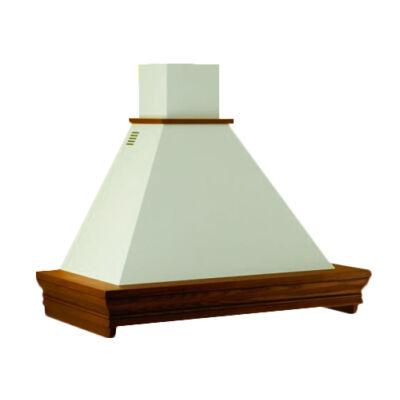Kdesign CLASSICA 120 T600 rusztikus fehér kürtős fali páraelszívó pácolható fa kerettel 120cm D
