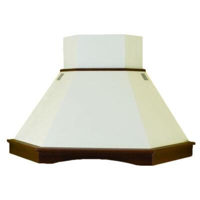 Kdesign EMILY ANGOLO 150 T600 rusztikus fehér kürtős sarok páraelszívó fa szegéllyel 150cm D