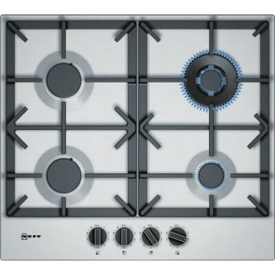 Neff T26DS59N0 beépíthető nemesacél gázfőzőlap, WOK égő, öntöttvas edénytartó