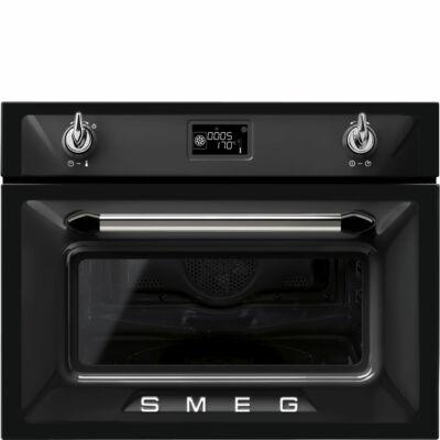 SMEG SF4920MCN1 Victoria beépíthető kombinált fekete mikrohullámú sütő kijelzővel 40L A