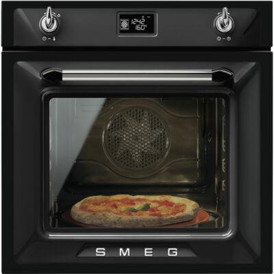 SMEG SF6922NPZE1 Victoria rusztikus fekete hőlégkeveréses sütő nagy LCD kijelzővel 65L A+