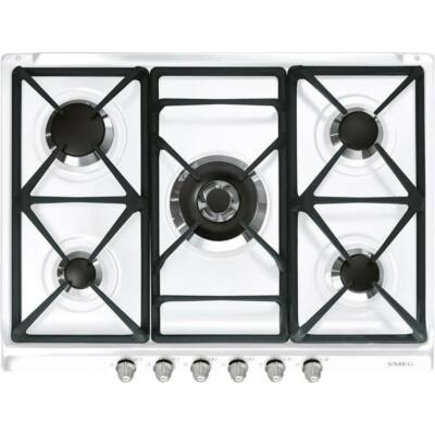 SMEG SR775BS Cortina beépíthető rusztikus fehér/ezüst 5 égős  gázfőzőlap wok égővel 70cm