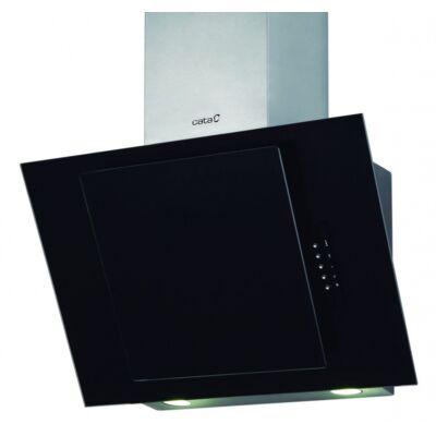 CATA CERES 600 P Döntött fekete üveg fali páraelszívó nyomógombokkal 60cm E