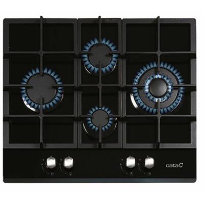 CATA LCI 6031 BK Beépíthető fekete üveg gáz főzőlap Wok égővel öntöttvas ráccsal 64cm