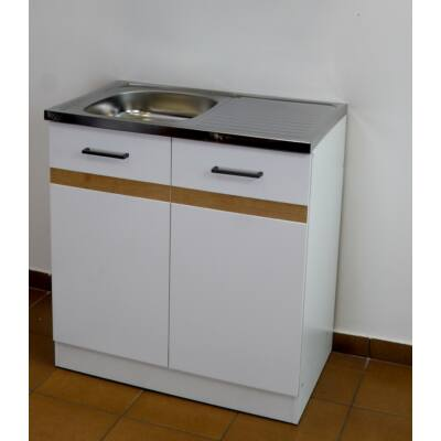 Ecorgan Komplett mosogatószekrény fehér korpusszal tölgy csíkkal  80x50