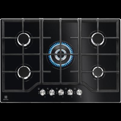 Electrolux KGG7536K Fekete edzett üveg 5 zónás 75cm széles gázfőzőlap égésbiztosítóval