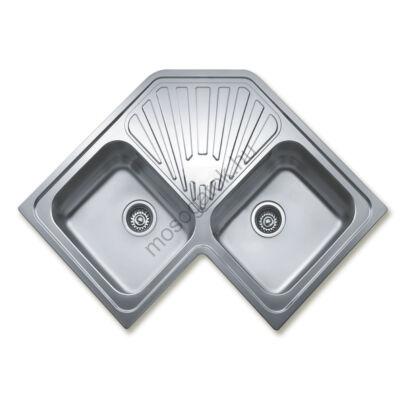 TEKA ANGULAR 2B Inox kétmedencés sarok mosogatótálca csepegtetővel szűrőkosárral