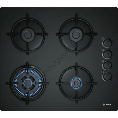 Bosch POH6B6B10 Fekete edzett üveg gázfőzőlap WOK égővel